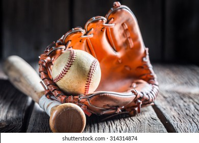 Vintage Baseball in a leather glove