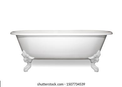 Vintage bathtub isolated on white background