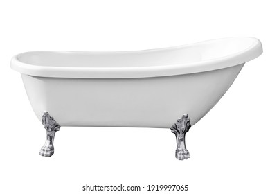 Vintage bathtub isolated on white backgrounds work with clipping path.