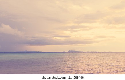 Vintage beach and sky at dusk