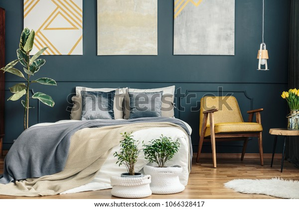 Vintage Bedroom Interior Retro Chair Blue Stock Photo (Edit ...