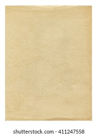Vintage Beige Paper Blank Isolated On White Background Old Texture For Design