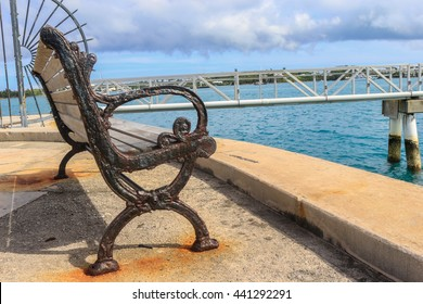 Vintage bench by the ocean