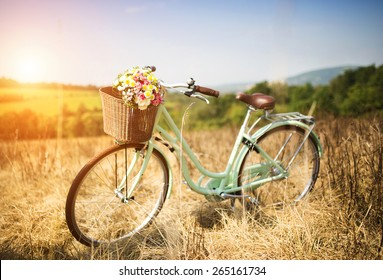Vintage bicycle with basket full of flowers standing in the field