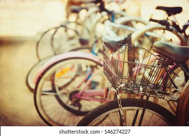 Vintage bicycle detail close up with bokeh background