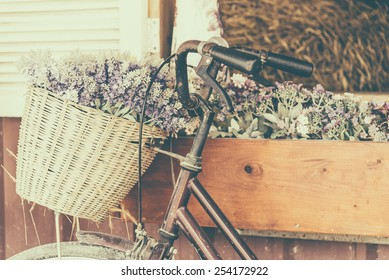 Vintage bicycle with flower - vintage effect filter style pictures
