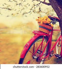Vintage Bicycle with flowers on  landscape background (toned picture)