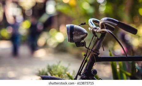 Vintage Bicycle Handlebars, Buzzer And Headlights Lamp.