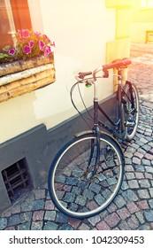 Vintage Bicycle In Old Street.