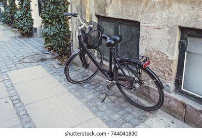 Vintage bicycle on the street.  Copenhagen, Denmark