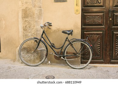 Vintage bicycle parked in the street