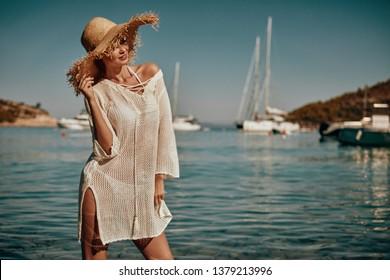 Vintage Bikini girl on the beach. woman in bikini on the beach on Adriatic Sea
