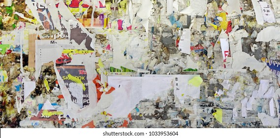Vintage Billboard With Torn Poster, Paper, Ads, Stickers Wide Background Or Texture. Urban Creative Wallpaper For Design. Abstract Web Banner. Panoramic Backdeop