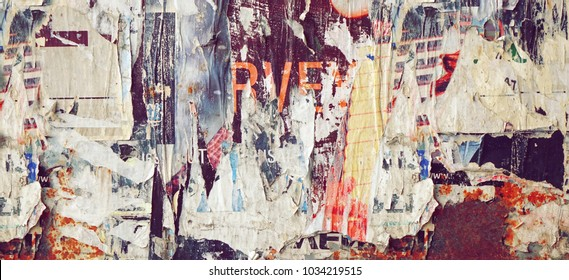 Vintage Billboard With Torn Poster, Paper, Ads, Stickers Wide Background Or Texture. Urban Creative Wallpaper For Design. Abstract Web Banner.