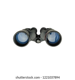vintage binoculars military field glass isolated on white background