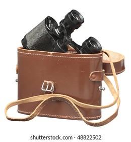 Vintage binoculars in worn case