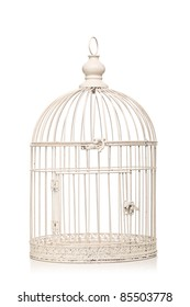 vintage bird cage isolated on white background