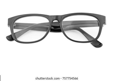 vintage black glasses isolated on white.