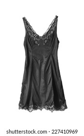 Vintage black silk nightgown isolated over white