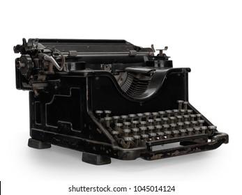 Vintage black typewriter on white background.