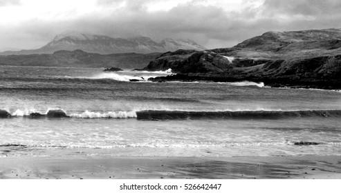 Vintage Black and White Beach Landscape, Waves, Nature
