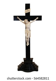 Vintage Black and White Catholic Cross Crucifix Nineteenth Century
