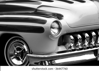 vintage black and white, hot rod.