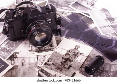 Vintage black and white photos 1960 - 1964 and old obsolete camera history concept