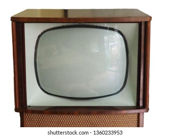 Vintage black and white television set dating from the 1950s.