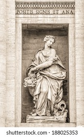 Vintage Black and White Travel Photography of Rome / Italy: Famous Architecture Detail and Landmark Fontana di Trevi