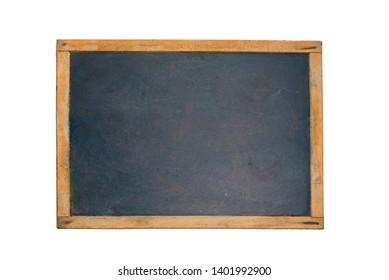 vintage blackboard with wooden frame on white background