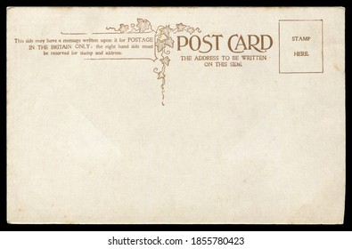 Vintage blank British postcard with decoration in early 1900s, great for historic postcard communications background.