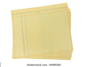Vintage Blank Ledger Paper on White with Clipping Path