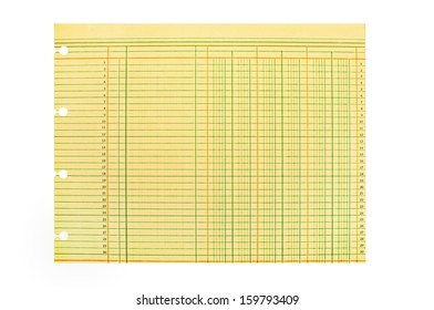 Vintage Blank Ledger Sheet with Clipping Path