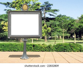A vintage blank notice board on a park suitable to add your text