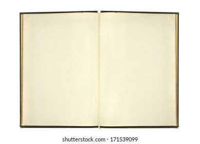 Vintage blank open notebook isolated on white background