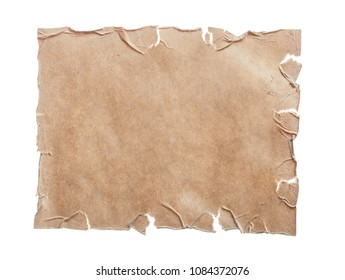 Vintage blank sheet of paper isolated on white
