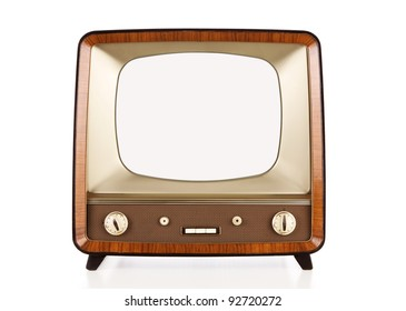 Vintage blank television with clipping path for the screen