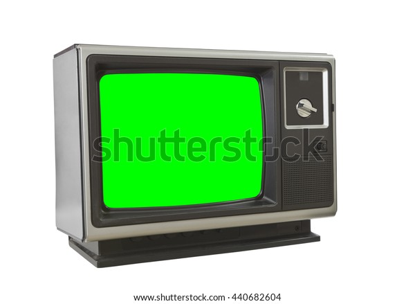 Vintage blank television isolated on white with chroma key green screen insert.