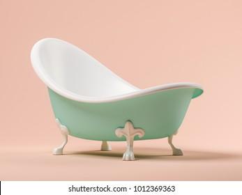 Vintage blue bathtub on pink background 3D illustration