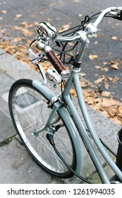 A vintage blue bicycle