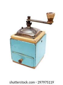 Vintage blue coffee grinder isolated on white background