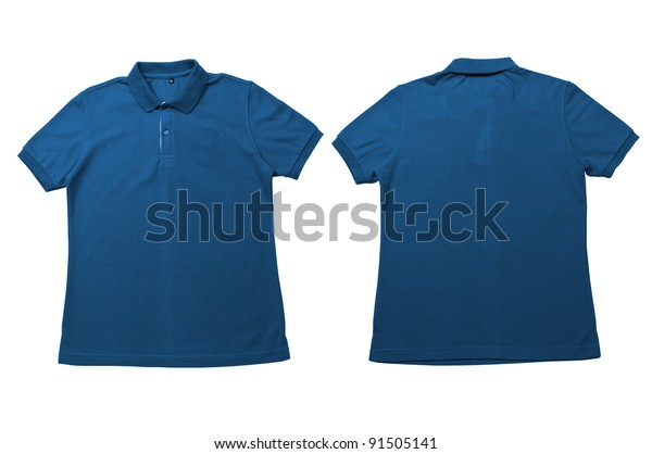 ddd7717571fe Vintage Blue color Polo Shirt with white background Men Front and back Polo  Shirt