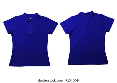 32737bb851dc Vintage Blue Female color Polo Shirt with white background Men Front and  back Polo Shirt