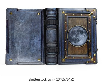 Vintage blue leather book with the brass frame, wooden plate and Moon symbol in the center of the front cover