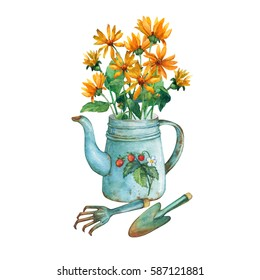 Vintage blue metal teapot with  bouquet of yellow flowers and garden tools. Hand drawn watercolor painting on white background.