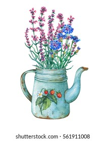 Vintage blue metal teapot with strawberries pattern and bouquet of flowers. Hand drawn watercolor painting on white background.