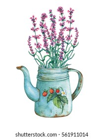 Vintage blue metal teapot with strawberries pattern and bouquet of lavender flowers. Hand drawn watercolor painting on white background.