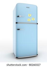vintage blue refrigerator