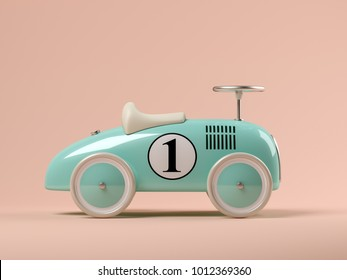 Vintage blue toy car on pink background 3D illustration